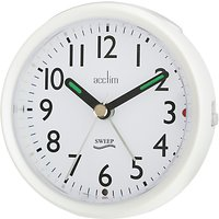Acctim Round Sweep Alarm Clock, Pearl White