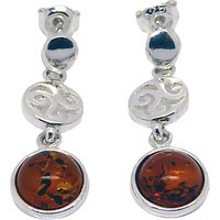 Goldmajor Amber and Sterling Silver Sunset Disc Earrings, Silver/Amber