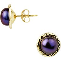 A B Davis 9ct Yellow Gold Border Freshwater Pearl Stud Earrings, 5mm, Black
