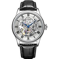 Rotary GS02940/06 Mens Skeleton Leather Strap Watch, Black/Silver