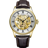 Rotary GS02941/03 Mens Skeleton Leather Strap Watch, Brown/Champagne