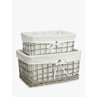 John Lewis & Partners Wicker Lined Small & Medium Sized Baskets, Set of 2, Grey