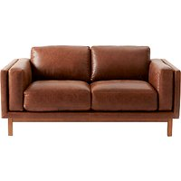 west elm Dekalb Aniline Leather Love Seat, Molasses