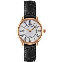 Rotary LS02919/41 Womens Elise Leather Strap Watch, Black/White