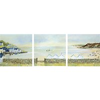 Anthony Waller - Beach Hut Parade Triptych, 105 x 35cm