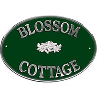 The House Nameplate Company Personalised Aluminium Oval House Sign, Wild Rose Motif, Large
