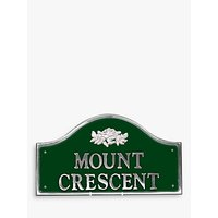 The House Nameplate Company Personalised Polished Aluminium Bridge House Sign, Wild Rose Motif, Smal