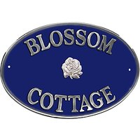 The House Nameplate Company Personalised Aluminium Oval House Sign, Rose Motif, Large