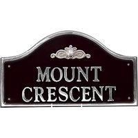 The House Nameplate Company Personalised Polished Aluminium Bridge House Sign, Flower Scroll Motif,