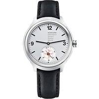 Mondaine MH1B2S80LB Unisex Helvetica Leather Strap Smartwatch, Black/Silver