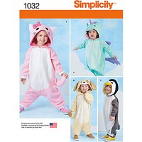 Simplicity Toddlers Animal Costumes Sewing Pattern, 1032