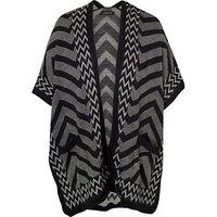 Chesca Zig Zag Knit Wrap Jacket, Black/Charcoal