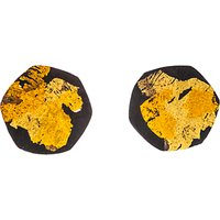Be-Jewelled Gold Plated Oxydised Sterling Silver Hexagon Stud Earrings, Gold/Black