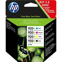 HP 920 XL Black, Cyan, Magenta & Yellow Multipack, Pack of 4