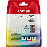 Canon PIXMA CLI-8 Tri-Colour Ink Cartridge Multipack, Pack of Three