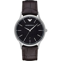 Emporio Armani AR2480 Men's Leather Strap Watch, Dark Brown/Black
