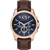 Armani Exchange Mens Chronograph Date Leather Strap Watch, Dark Brown/Blue
