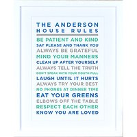 Megan Claire - Personalised House Rules Framed Print, Marine
