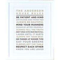 Megan Claire - Personalised House Rules Framed Print, Neutral