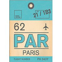 Nick Cranston - Luggage Labels: Paris Unframed Print with Mount, 40 x 30cm