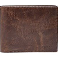 Fossil Derrick Large Coin Pocket Bifold Wallet, Dark Brown