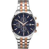 Sekonda 1107.27 Mens Velocity Two Tone Stainless Steel Chronograph Bracelet Strap Watch, Silver/Rose Gold