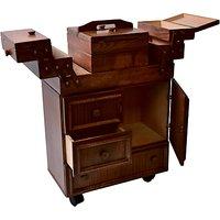 Aumuller Korbwaren Cantilever Wooden Sewing Cabinet, Dark Wood