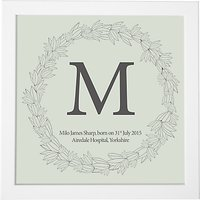 Modo Creative Personalised Name Leaf Wreath Framed Print, 18 x 18cm