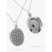Nina B Marcasite Oval Locket Pendant Necklace, Silver