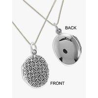 Nina B Marcasite Oval Locket Pendant Necklace, Silver