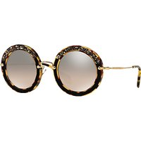 shop for Miu Miu MU80RS Round Metal Frame Sunglasses, Tortoise at Shopo