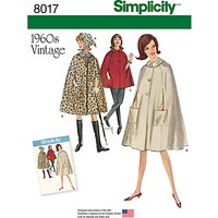 Simplicity Misses Womens Vintage 1960s Capes Sewing Pattern, 8017