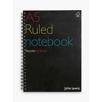 John Lewis Recycled Spiral Bound Notebook A5, 60 Sheets