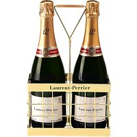 Laurent-perrier Brut Champagne And Crate, Set Of 2