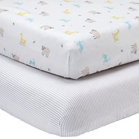 John Lewis Farmyard and Stripe Fitted Cotbed Sheet, Pack of 2, White/Grey