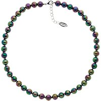 Finesse Glass Pearl Necklace, Green/Purple