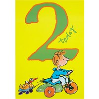 Woodmansterne Boy On Tricycle 2nd Birthday Card