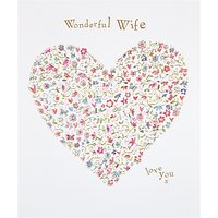 Woodmansterne Heart Full Of Flowers Wonderful Wife Birthday Card