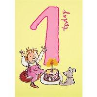 Woodmansterne Girl With Cake 1st Birthday Card