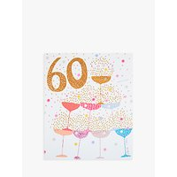 Woodmansterne Champagne Glasses With Sprinklers 60th Birthday Card
