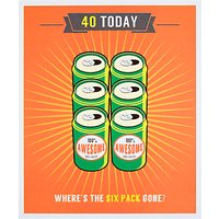 Woodmansterne Where's The Six Pack Gone? 40th Birthday Card