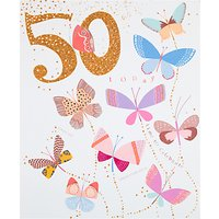 Woodmansterne Celebration Butterflies 50th Birthday Card