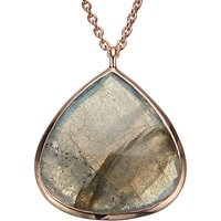 John Lewis Gemstones Rose Gold Plated Labradorite Teardrop Pendant Necklace, Rose Gold