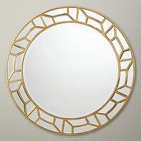 John Lewis Verbier Round Mirror, Gold, Dia. 81cm