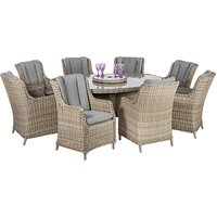 Royalcraft Wentworth Imperial 8-Seater Garden Dining Table and High Back Chairs Set