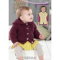 Sirdar Snuggly Children's Hooded Cardigan Knitting Pattern, 4581