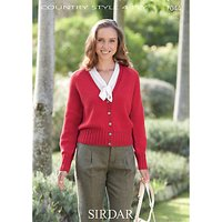 Sirdar Country Style 4 Ply Cable Edge Cardigan Knitting Pattern, 7044