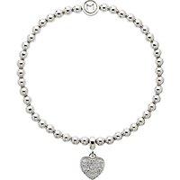 Melissa Odabash Crystal Heart Bracelet, Silver