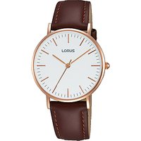 Lorus RH886BX9 Womens Leather Strap Watch, Brown/White
