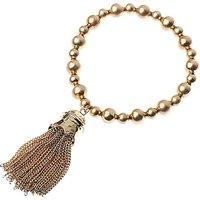 Adele Marie Bead Chain Tassel Stretch Bracelet